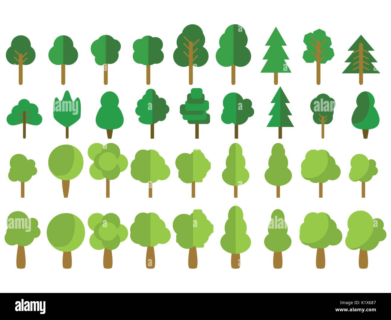 Flat trees. Trees set in a flat design. Vector icons. Stock Vector