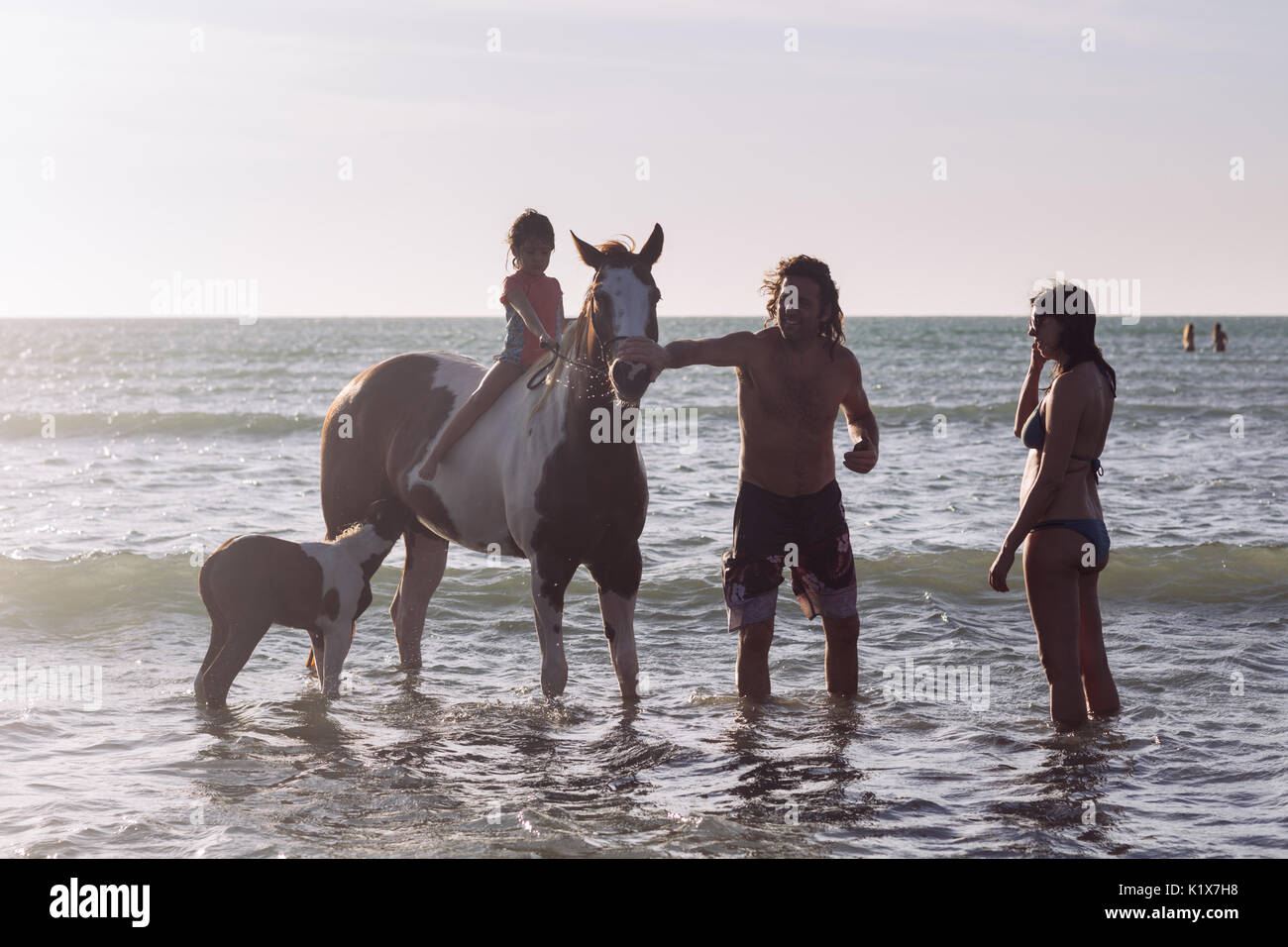 A little girl mounting a horse in the ocean with his parents while it feeds her litter in Jericoacoara, Ceará, Brasil - Stock Image