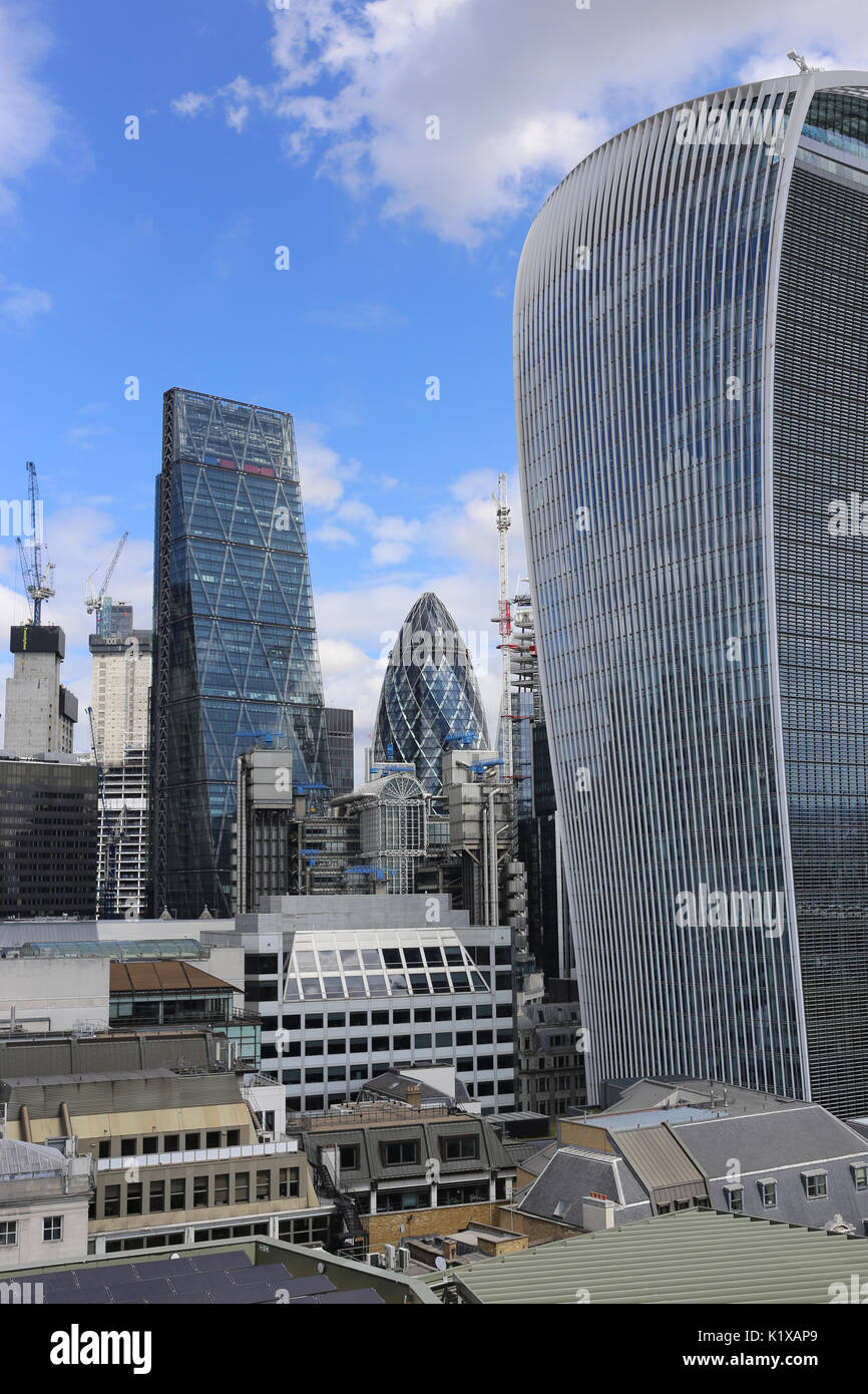 View from the Monument in the City of London, including the Gherkin, Walkie Talkie and Cheesegrater buildings. - Stock Image