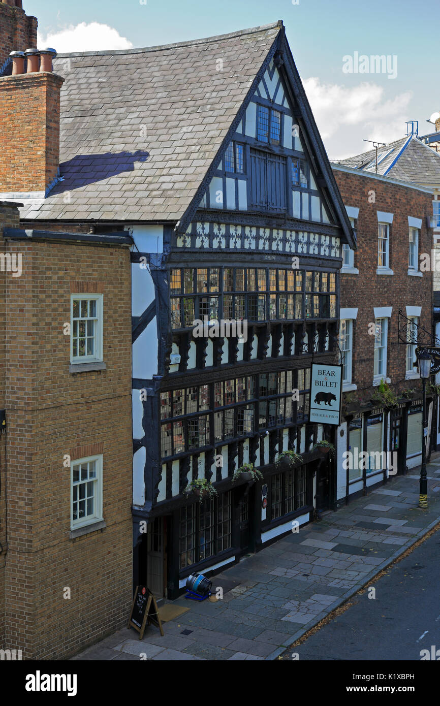 The 17th century Bear and Billet Inn, a fine black and white half timbered building, Lower Bridge Street, Chester, Cheshire, England, UK. - Stock Image