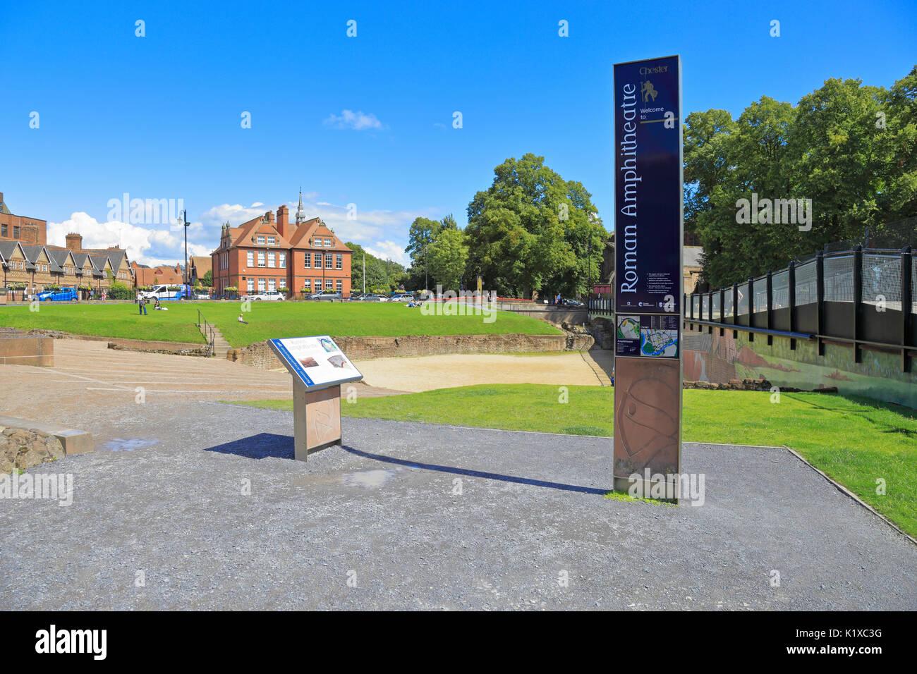 Roman amphitheatre interpretation boards, Chester, Cheshire, England, UK. - Stock Image