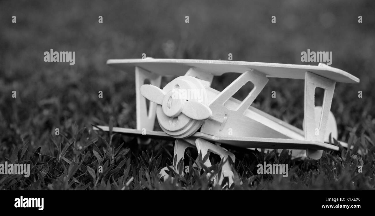 A model of a wooden airplane on the grass. Black and white photo - Stock Image