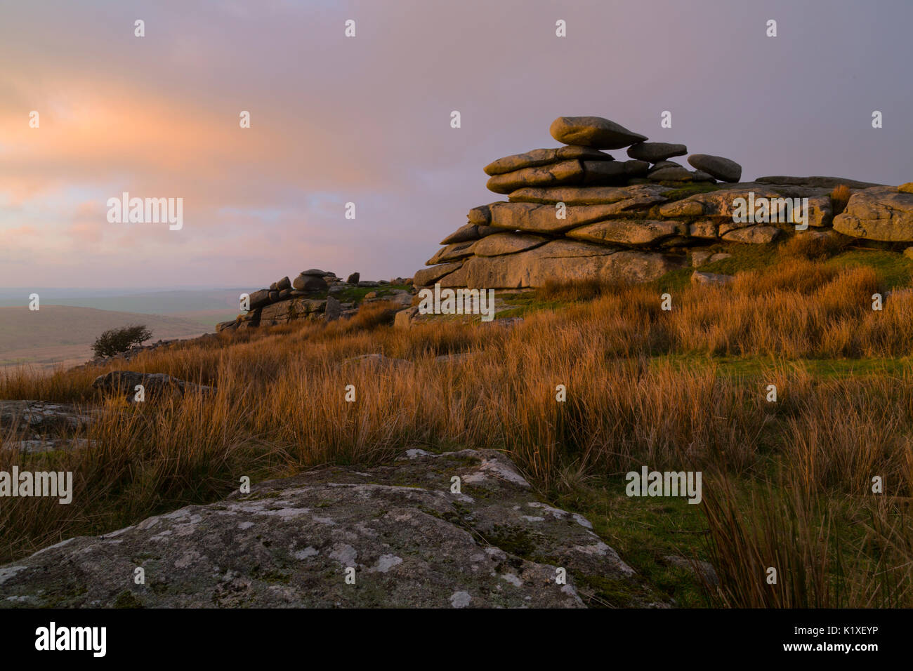 Sunset falling across Stowes Hill on Bodmin Moor - Stock Image