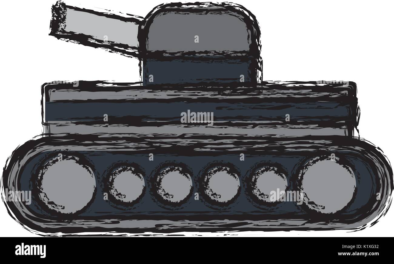 world war battle tank aiming cannon to side - Stock Vector