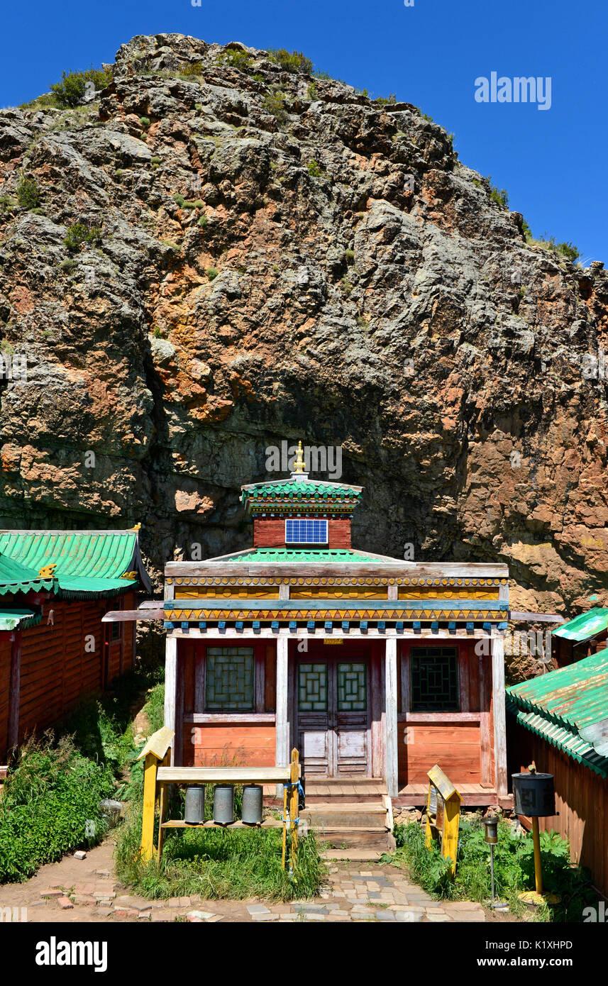 Bogd temple at the Tuvkhun Monastery, UNESCO world cultural heritage site, Khangai Nuruu National Park, Övörkhangai Province, Mongolia - Stock Image
