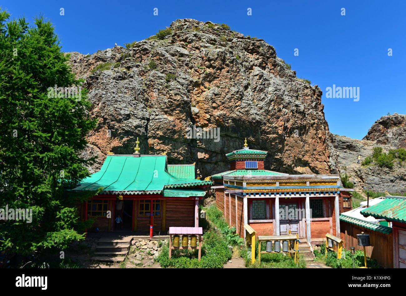 Tuvkhun Monastery, UNESCO world cultural heritage site, Khangai Nuruu National Park, Övörkhangai Province, Mongolia - Stock Image