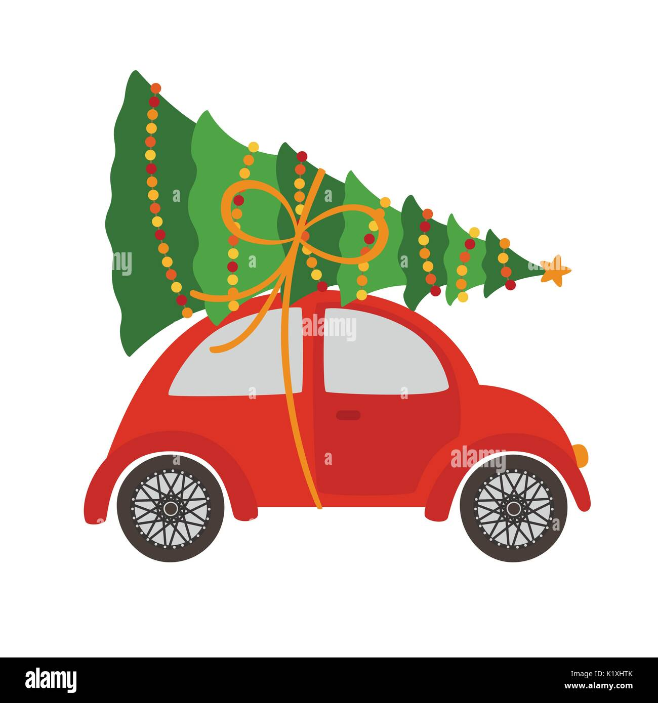 Car With Christmas Tree Stock Vector Art Illustration