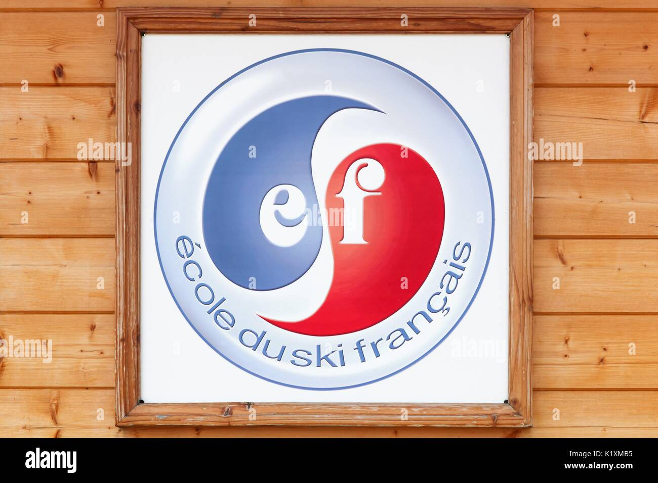 Meaudre, France - June 23 2017: French ski school logo on a wall called ecole de ski francais or ESF in french. ESF Is a consortium of 250 French ski - Stock Image