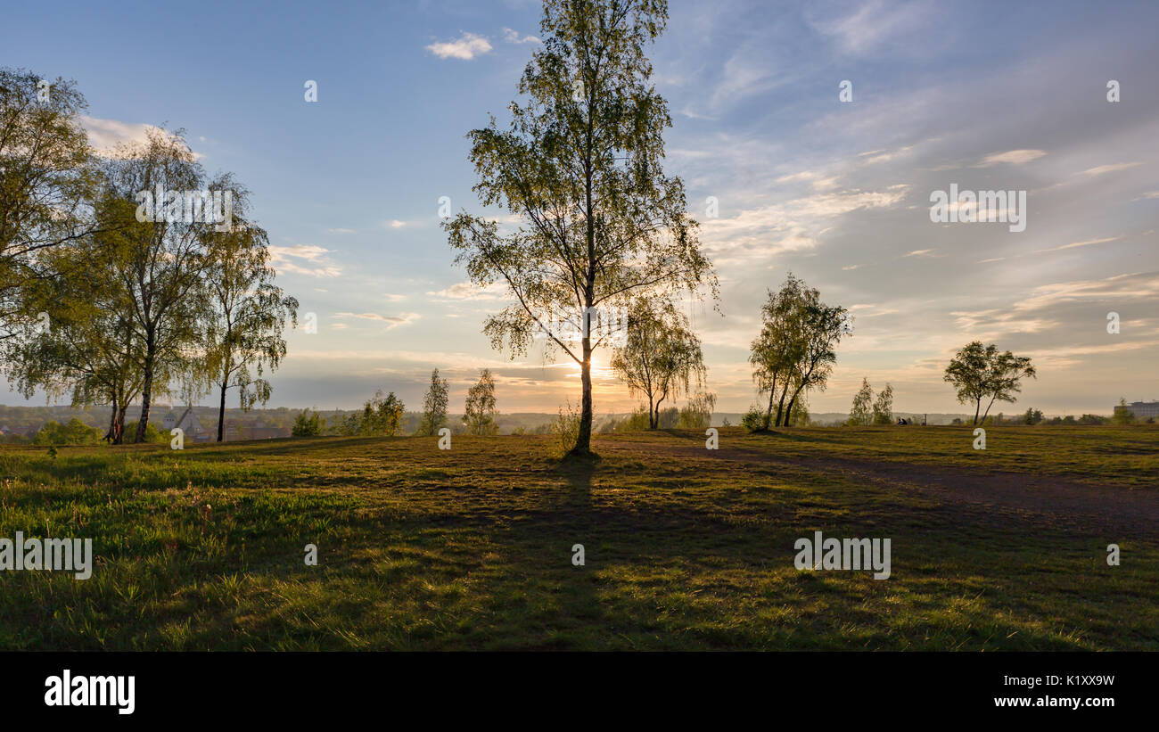 Freiberg - heap of mine 'Alte Elisabeth' with romantic sky - Stock Image