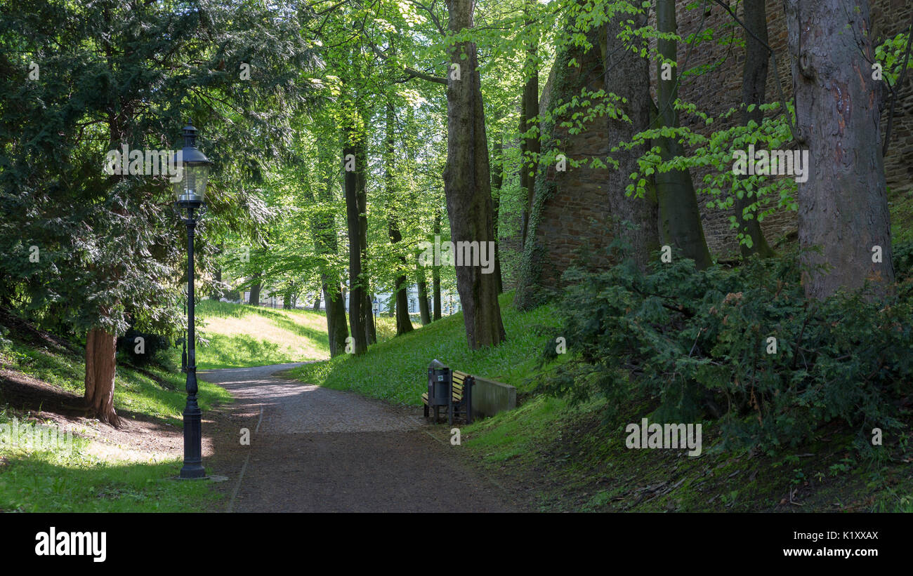 Freiberg, Saxony - walkway around historic city wall - Stock Image