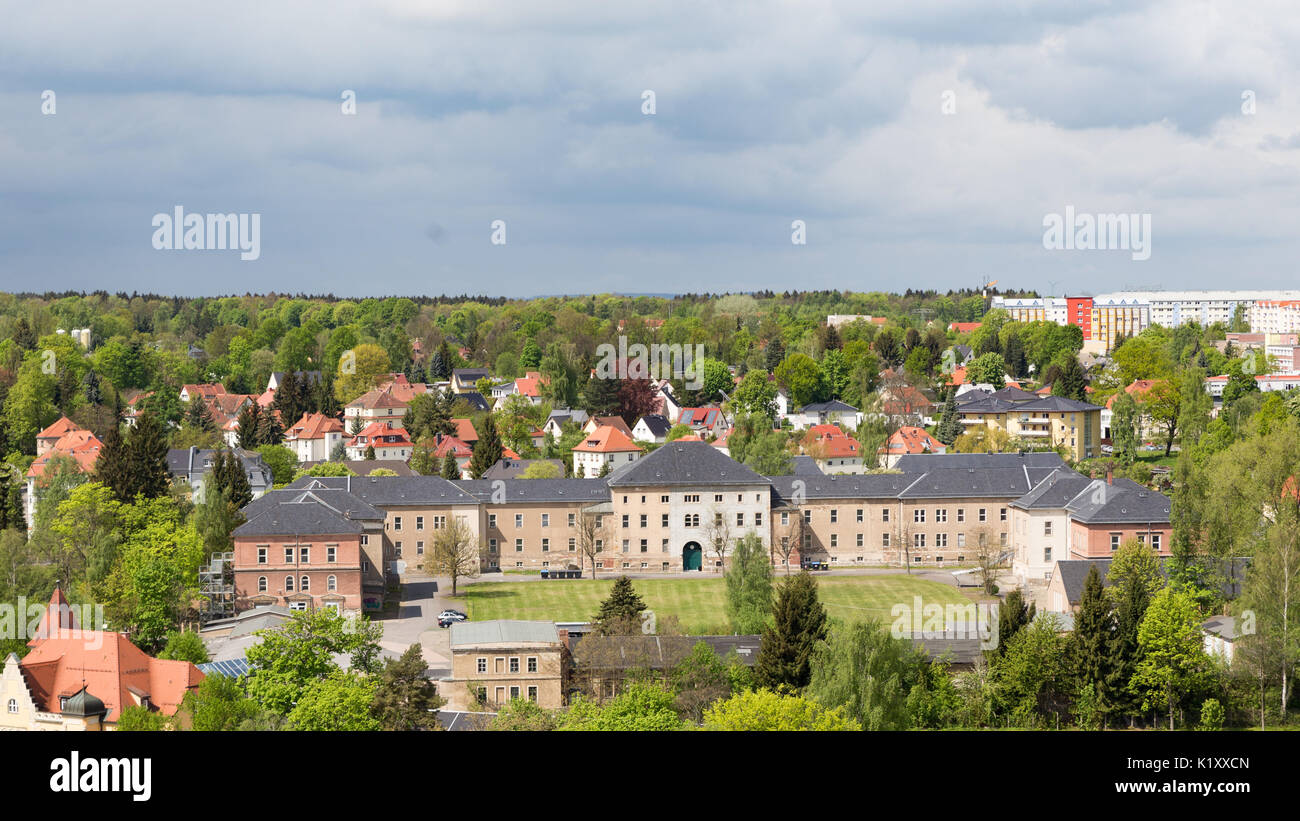 view from st. peter church over the roofs of freiberg - Stock Image