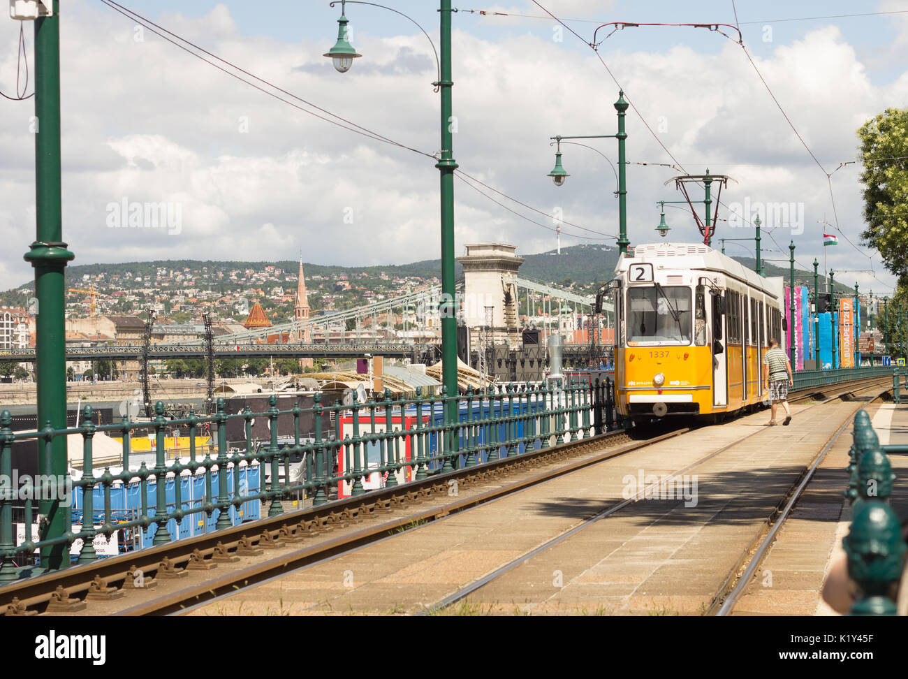 yellow tram in Budapest Stock Photo