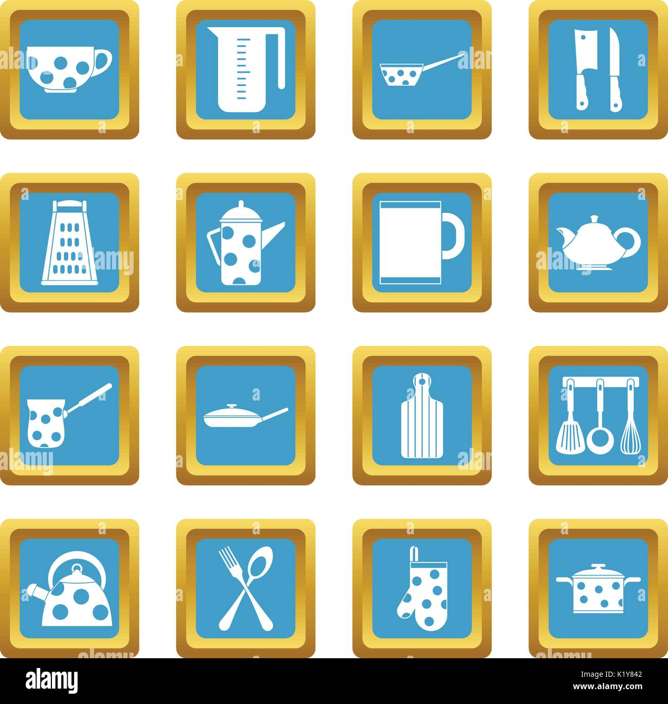 Kitchen tools and utensils icons azure - Stock Vector