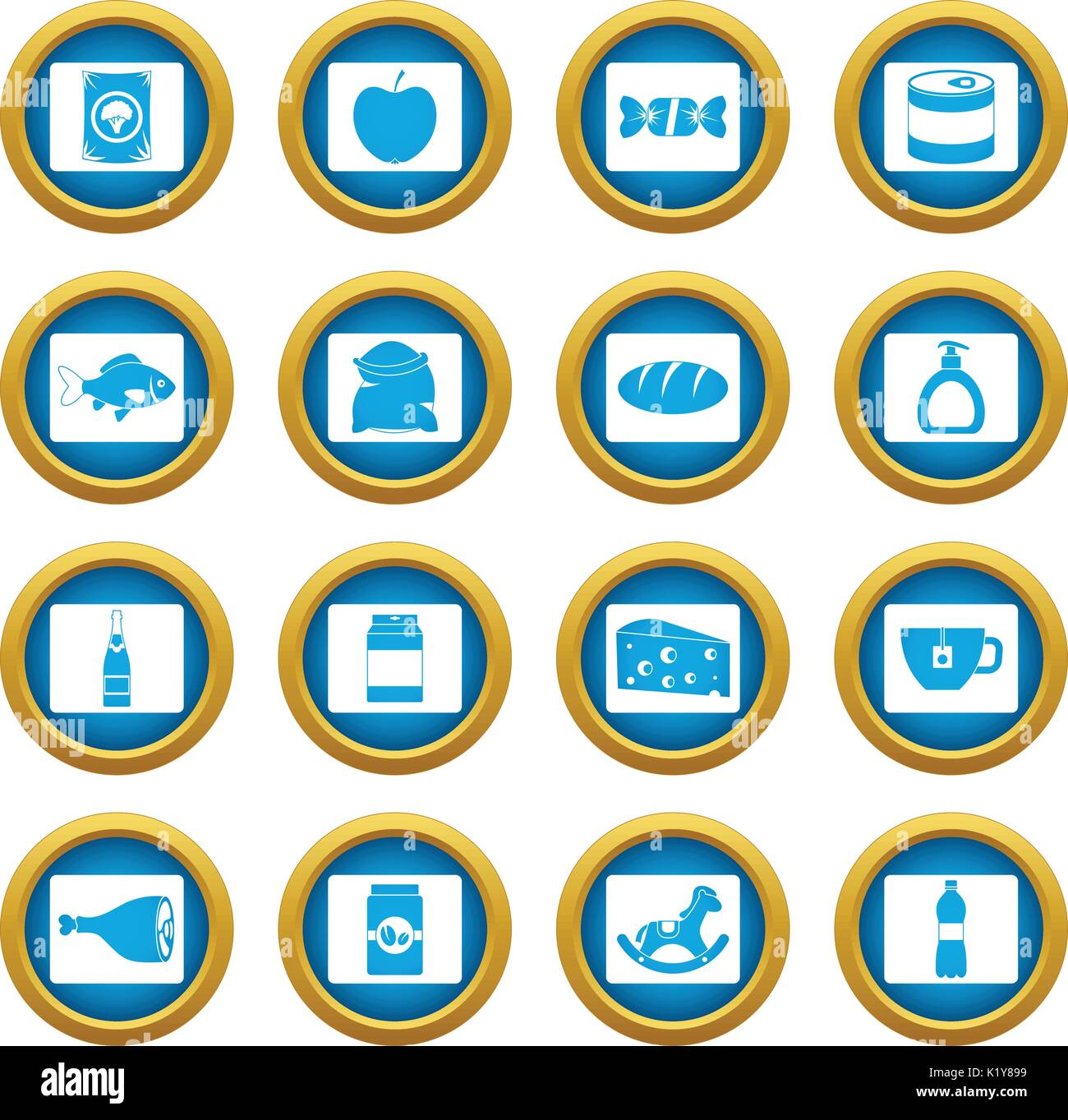 Shop navigation foods icons blue circle set - Stock Image