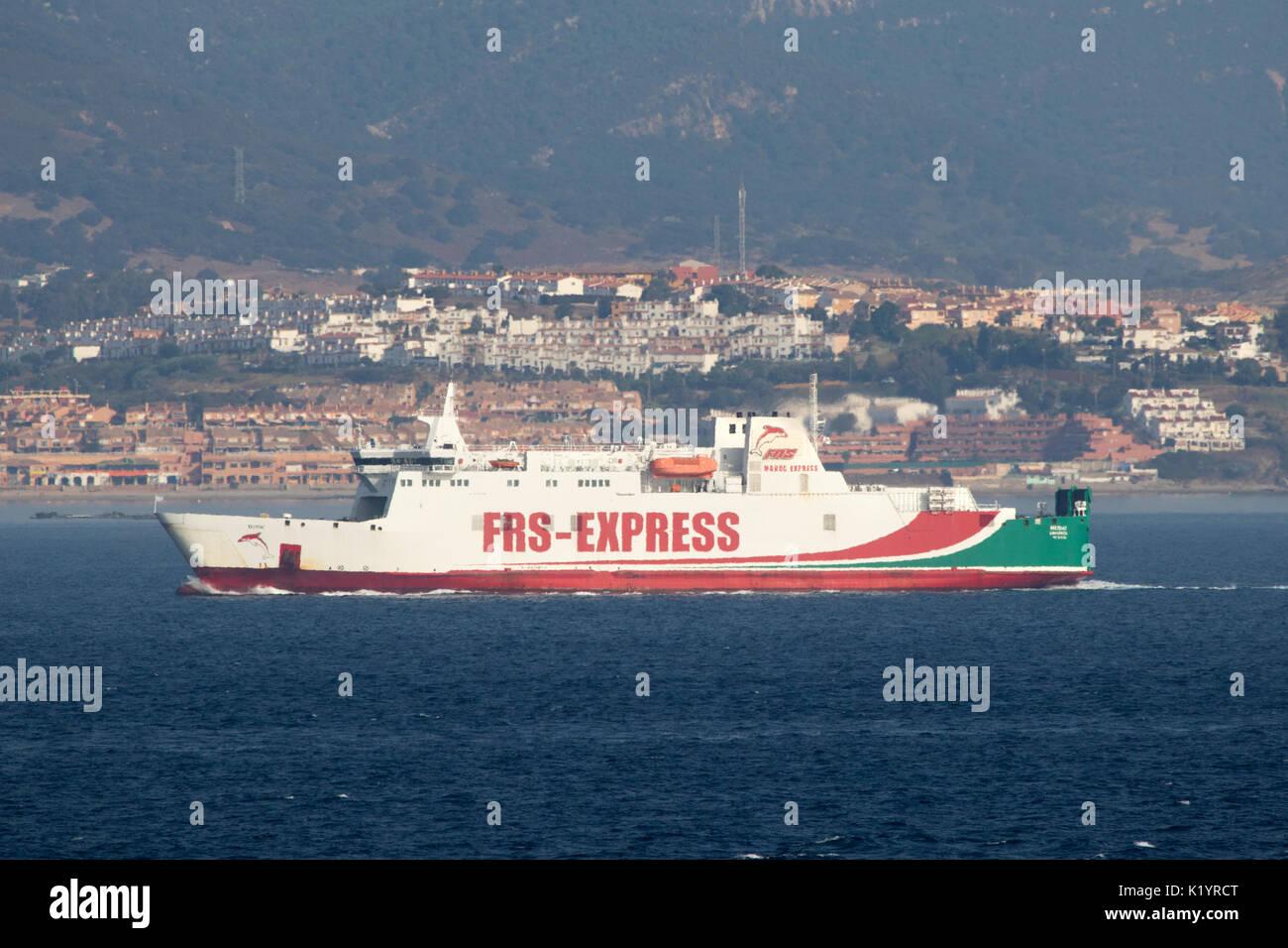 FRS Iberia Maroc Express Kattegat ferry in Gibraltar with heat haze - Stock Image