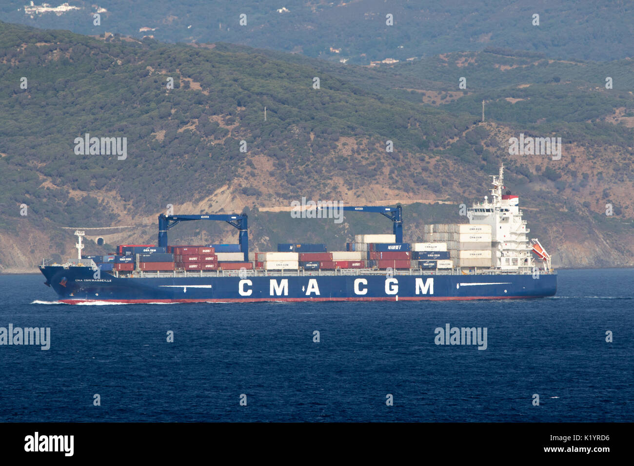 CMA CGM Marseille Container Ship in the port of Gibraltar in the Mediterranean Sea - Stock Image