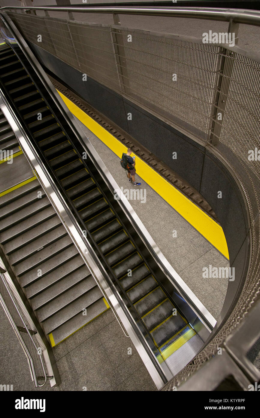 A single person on the platform one at the 86th Street subway station on the new Second avenue Line on the Upper East Side of Manhattan, New York City - Stock Image