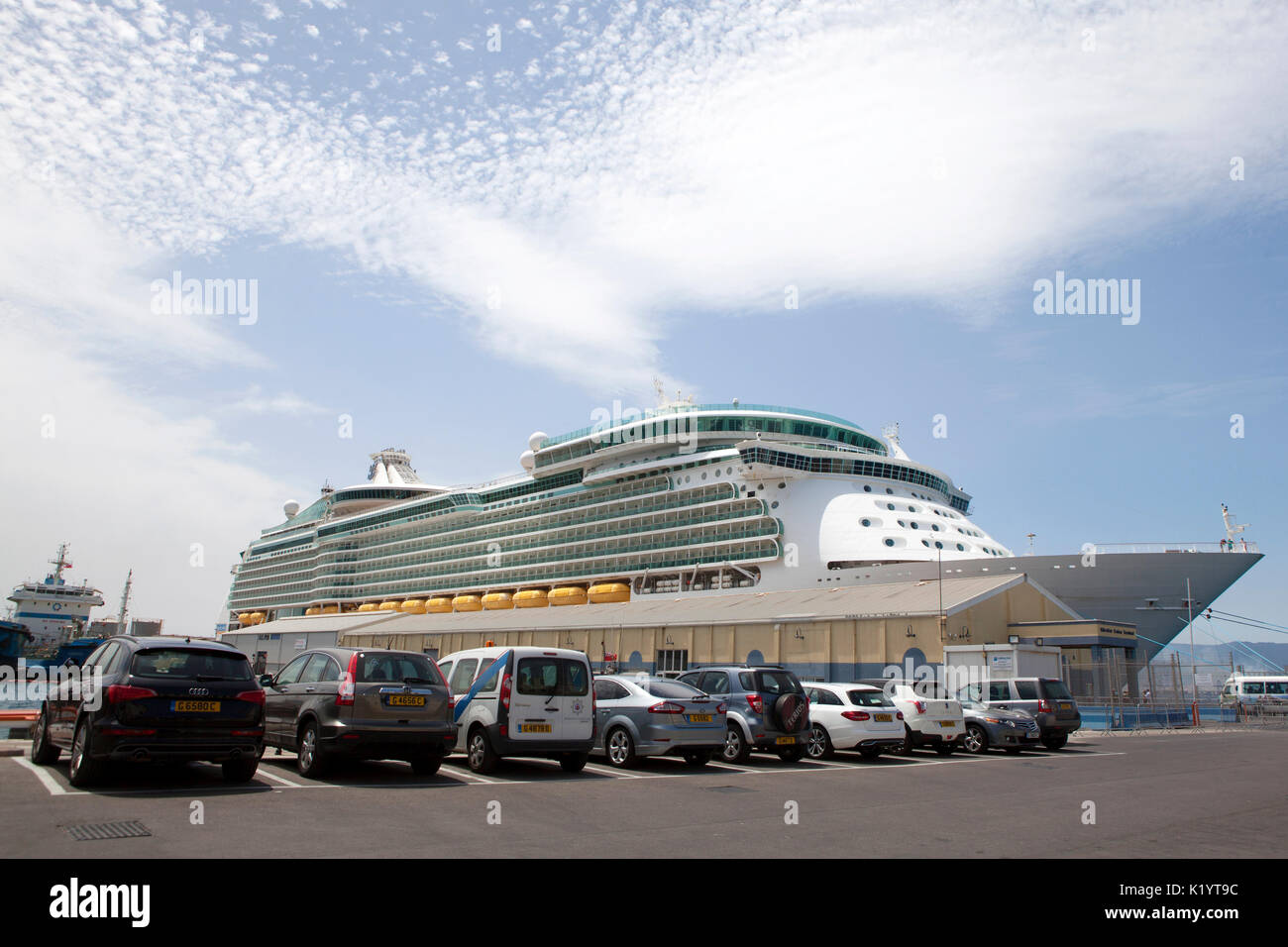 Gibraltar Cruise Terminal at the northern end of the Western Arm of the North Mole at Gibraltar Harbour - Stock Image