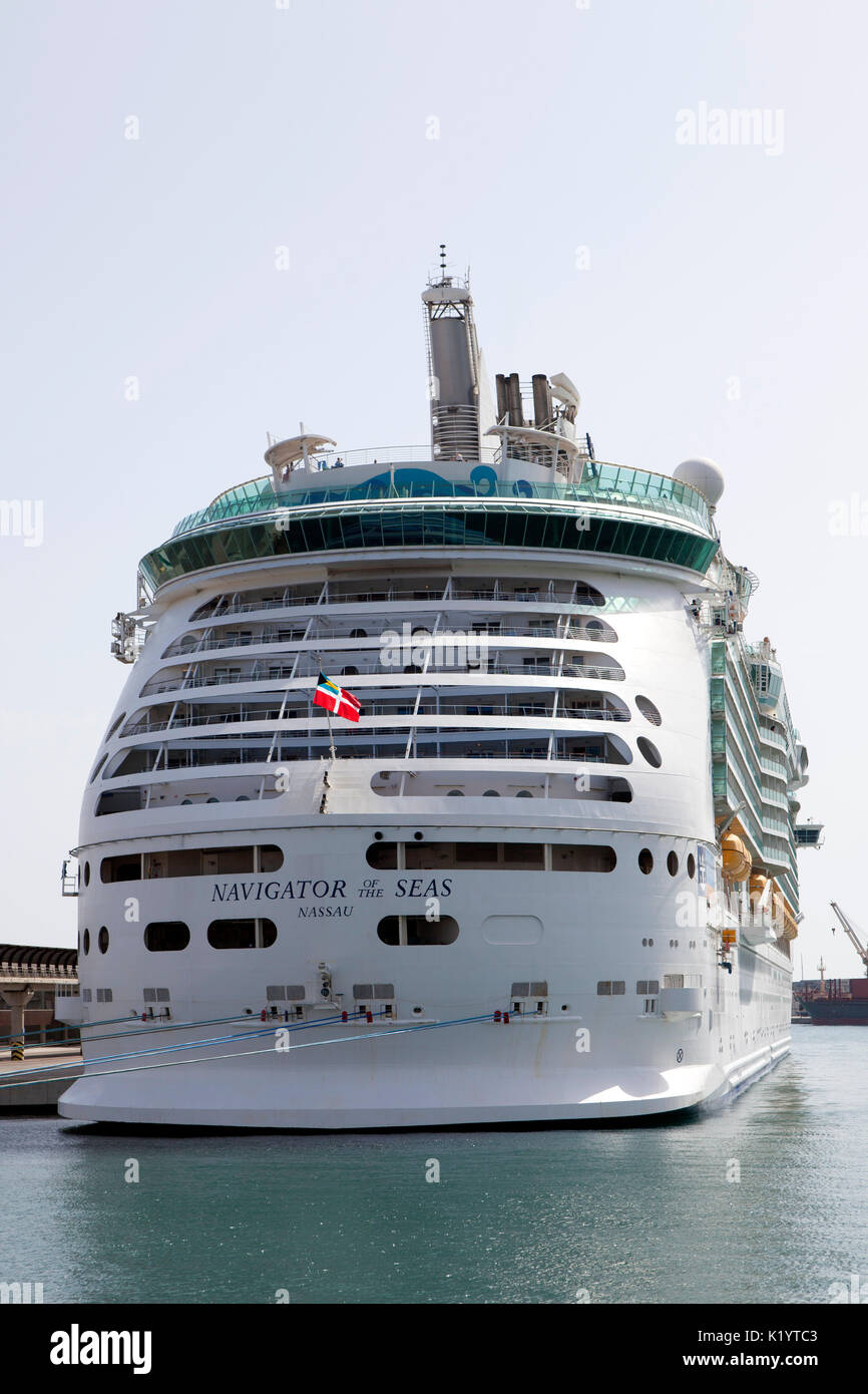 Royal Caribbean Navigator of the Seas Voyager class cruise ship docked at port of Cartagena, Spain in the Mediterranean - Stock Image