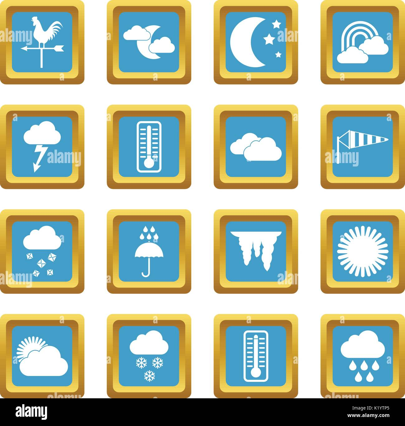Weather icons azure - Stock Vector