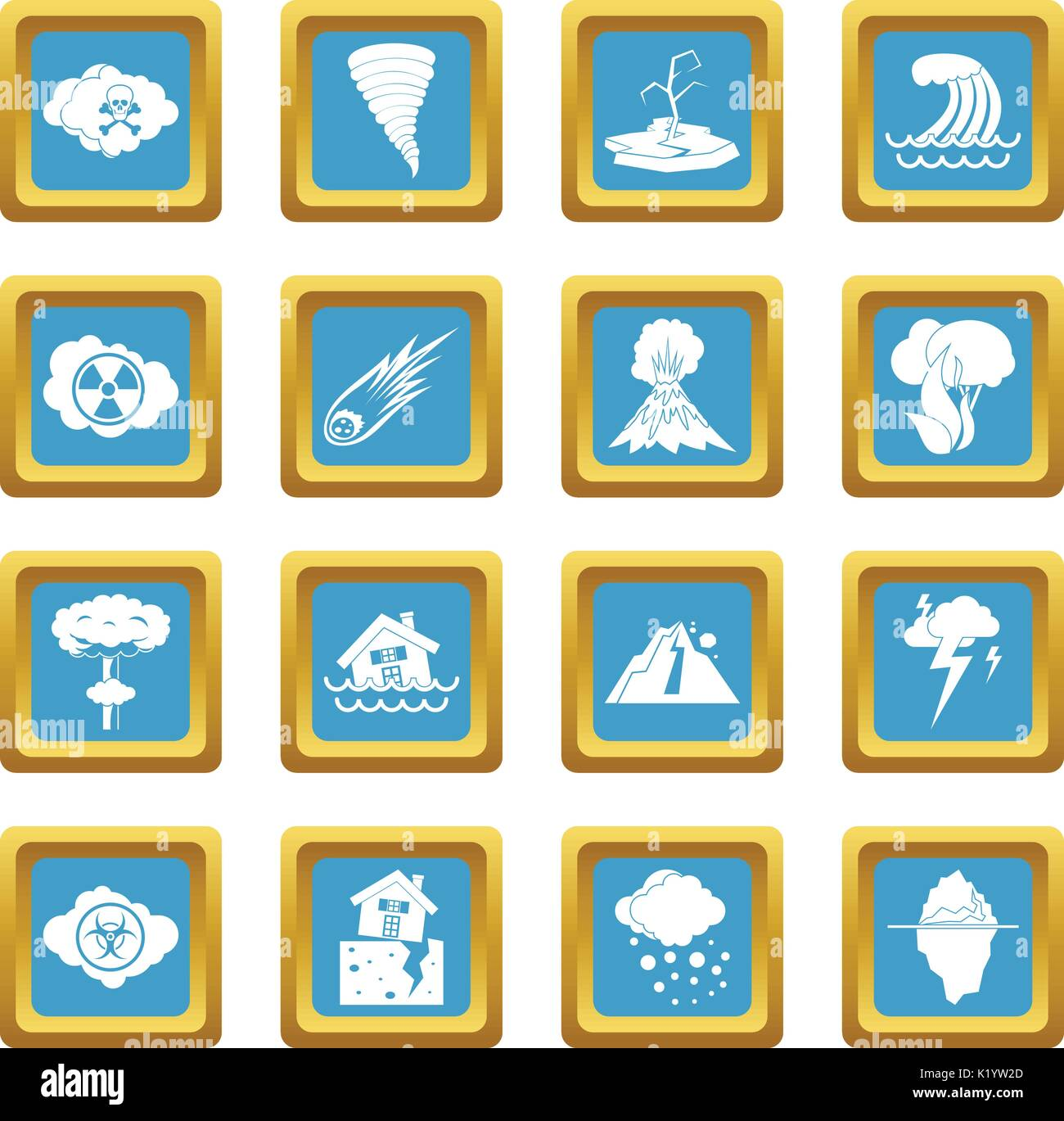 Natural disaster icons azure - Stock Image