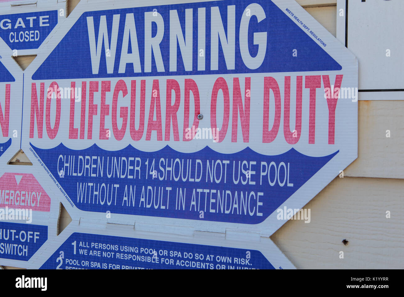 Swimming poolside warning, rules and safety signs and notices for ...
