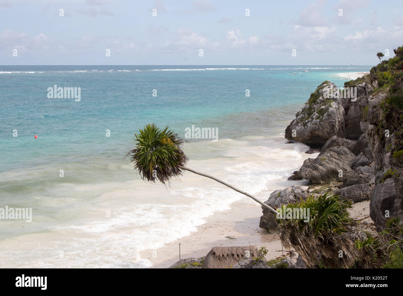 Tropical beach with topaz blue water, leaning palm tree, white sand and rocky cliffs. - Stock Image