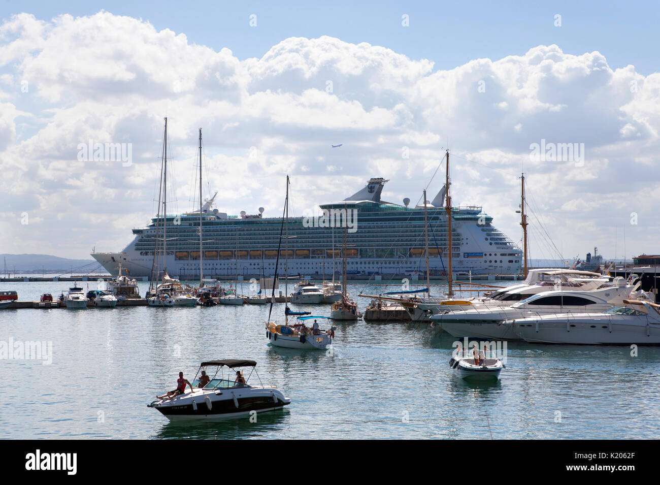 Royal Caribbean Navigator of the Seas Voyager class cruise ship in the  Mediterranean - Stock Image