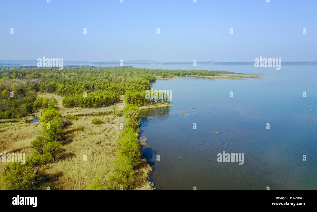 The river mouth of the Tyrolean Ache into the Chiemsee, aerial view, Grabenstätt, Upper Bavaria, Bavaria, Germany - Stock Image