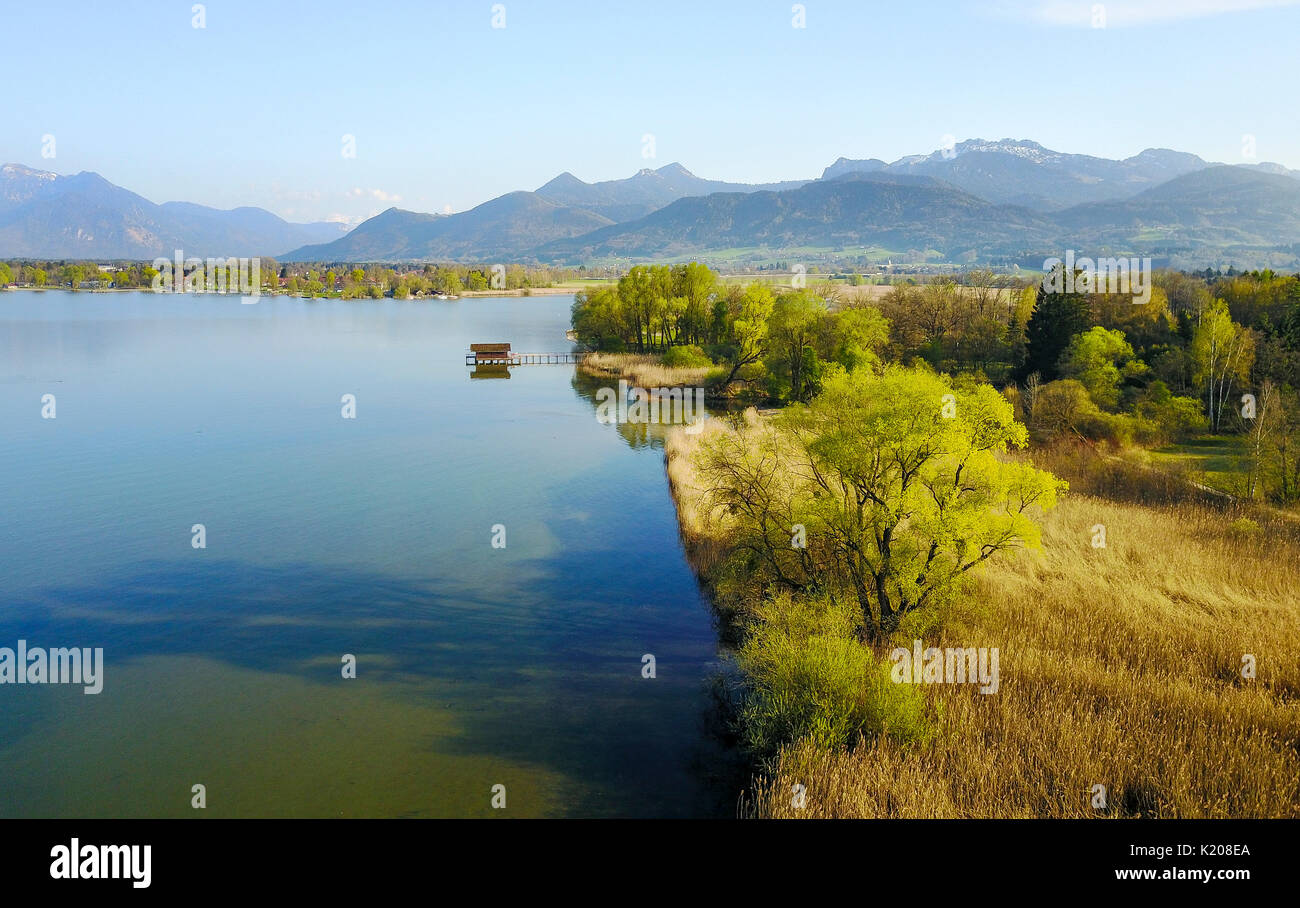View of the Chiemsee with pre-Alps, Prien am Chiemsee, Upper Bavaria, Bavaria, Germany Stock Photo