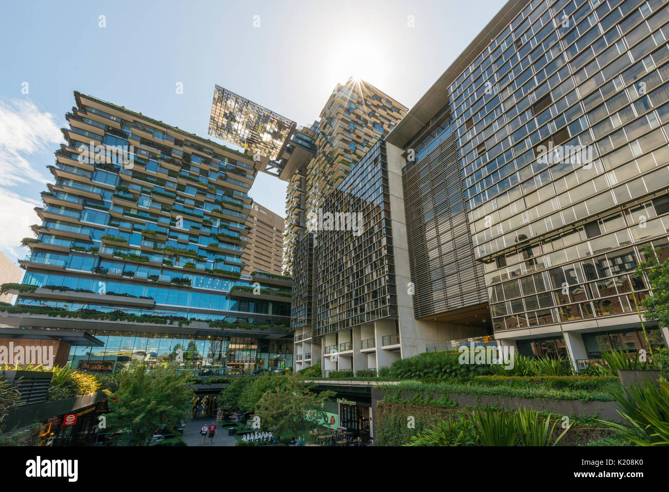 Green high-rise with plants on facade, ecological and green living, One Central Park Tower, Sydney, Australia - Stock Image