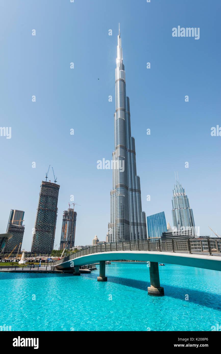 Burj Khalifa lake and bridge, Dubai, Emirate Dubai, United Arab Emirates - Stock Image