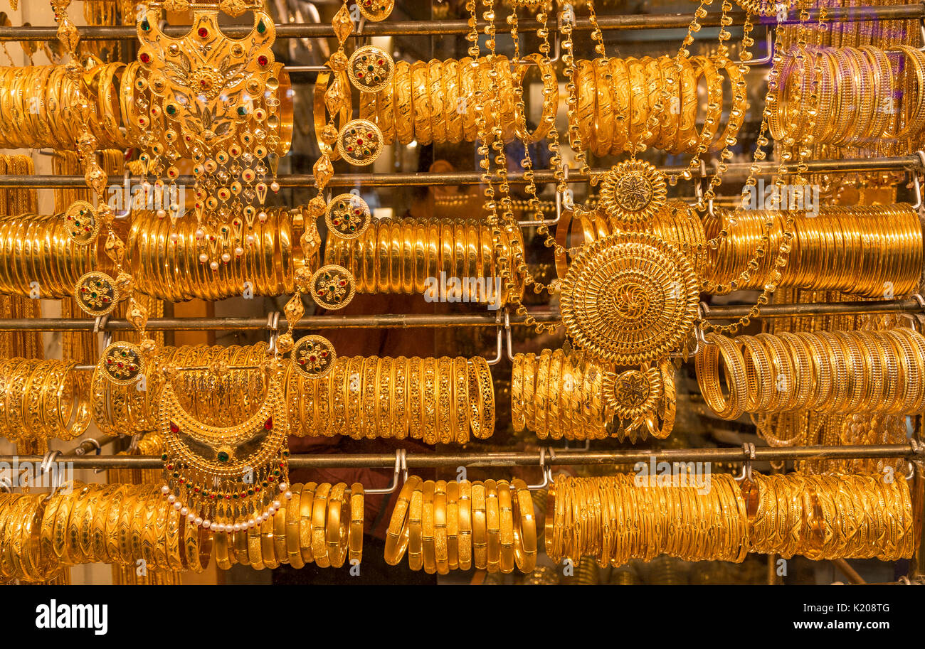 Golden bangles and jewelry, Deira Gold Souk, Old Market, Old Dubai, Dubai, United Arab Emirates - Stock Image