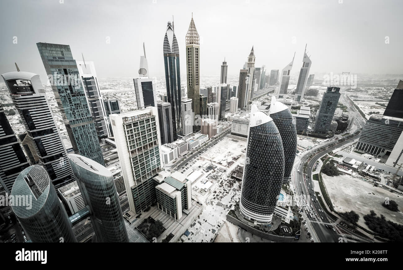 Skyscrapers and streets, Dubai, United Arab Emirates - Stock Image