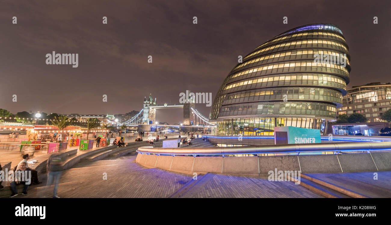London City Hall, City Hall, at back Tower Bridge, More London Riverside, Southwark, London, England, United Kingdom - Stock Image