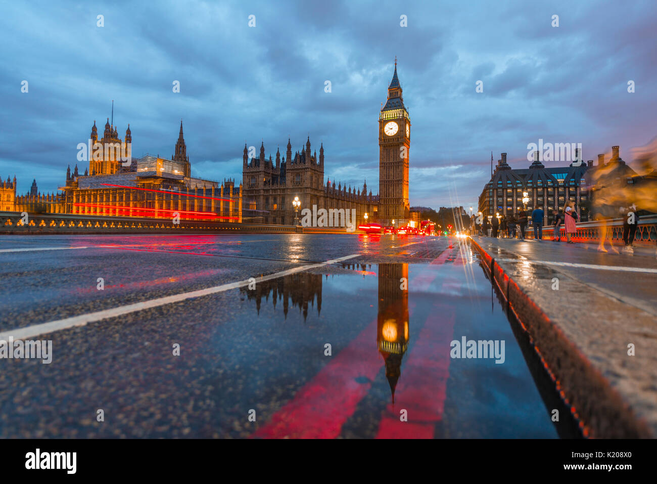 Westminster Bridge, Palace of Westminster, Houses of Parliament with reflection, Big Ben, City of Westminster, London, England - Stock Image