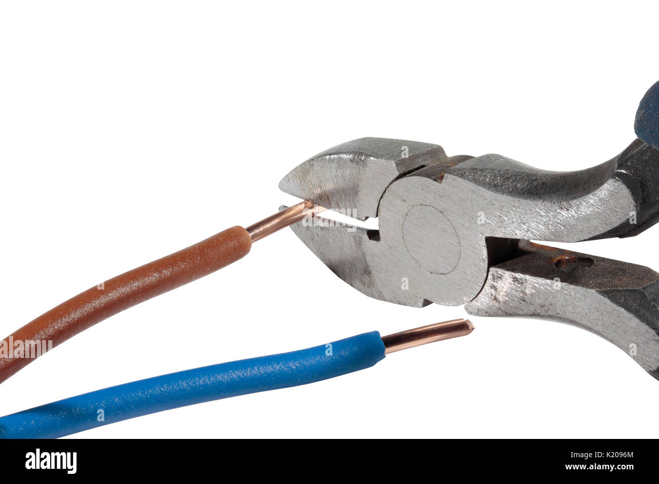 Trimming a live conductor / wire with side cutters / diagonal pliers isolated on a white background - Stock Image