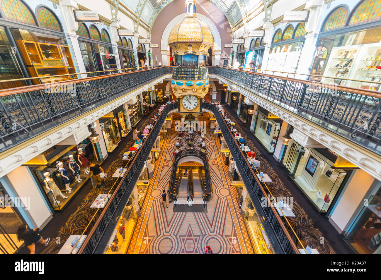 Arcades, boutiques, shopping temple Queen Victoria Building QVB, Sydney, New South Wales, Australia - Stock Image