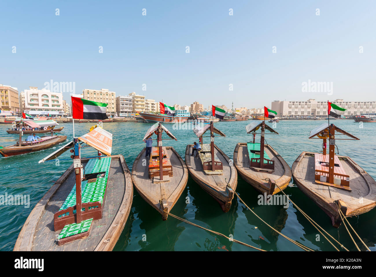 Small traditional ships on the Creek, Old Dubai, United Arab Emirates - Stock Image