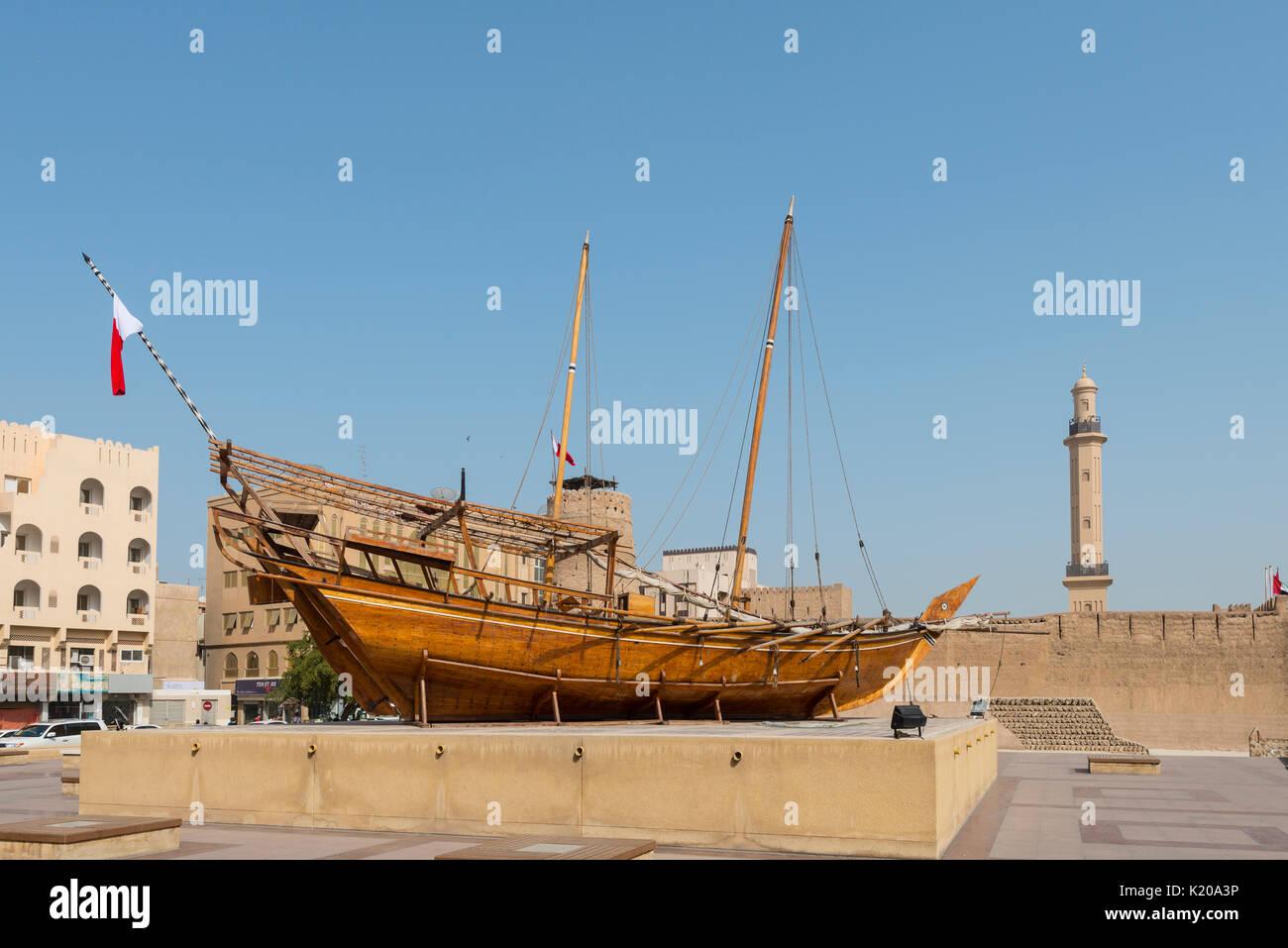 Old Dhau, ship at Dubai Museum, Dubai, United Arab Emirates Stock Photo
