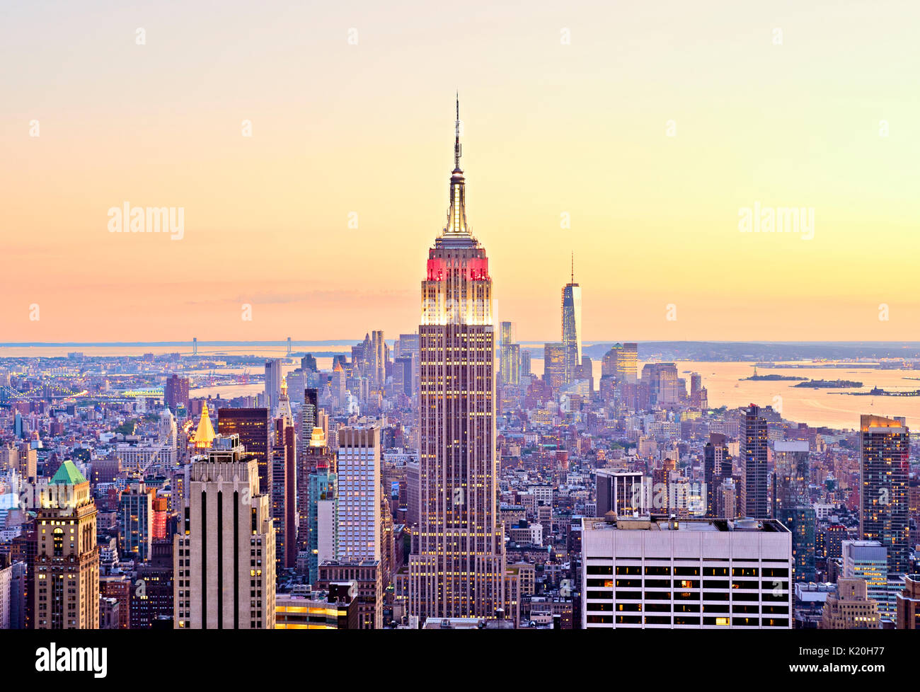 New York City Skyline Top of the Rock Aerial Empire State Building - Stock Image