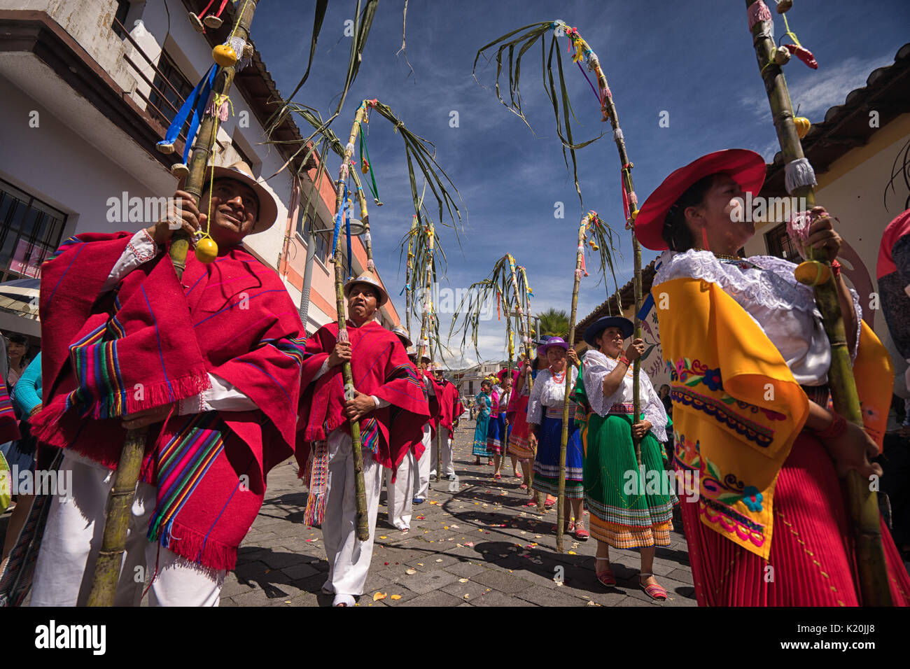 June 17, 2017 Pujili, Ecuador: at Corpus Christi beside religious rituals traditional Andean harvest and sun festivities are taking place - Stock Image