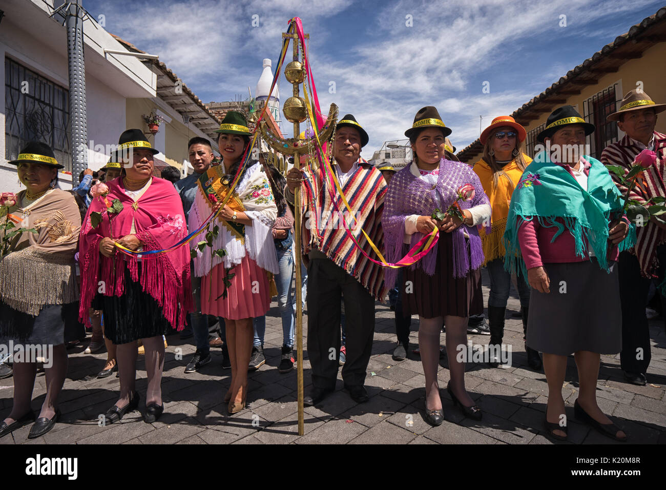 June 17, 2017 Pujili, Ecuador: indigenous kichwa people in traditional clothes at the Corpus Christi parade - Stock Image