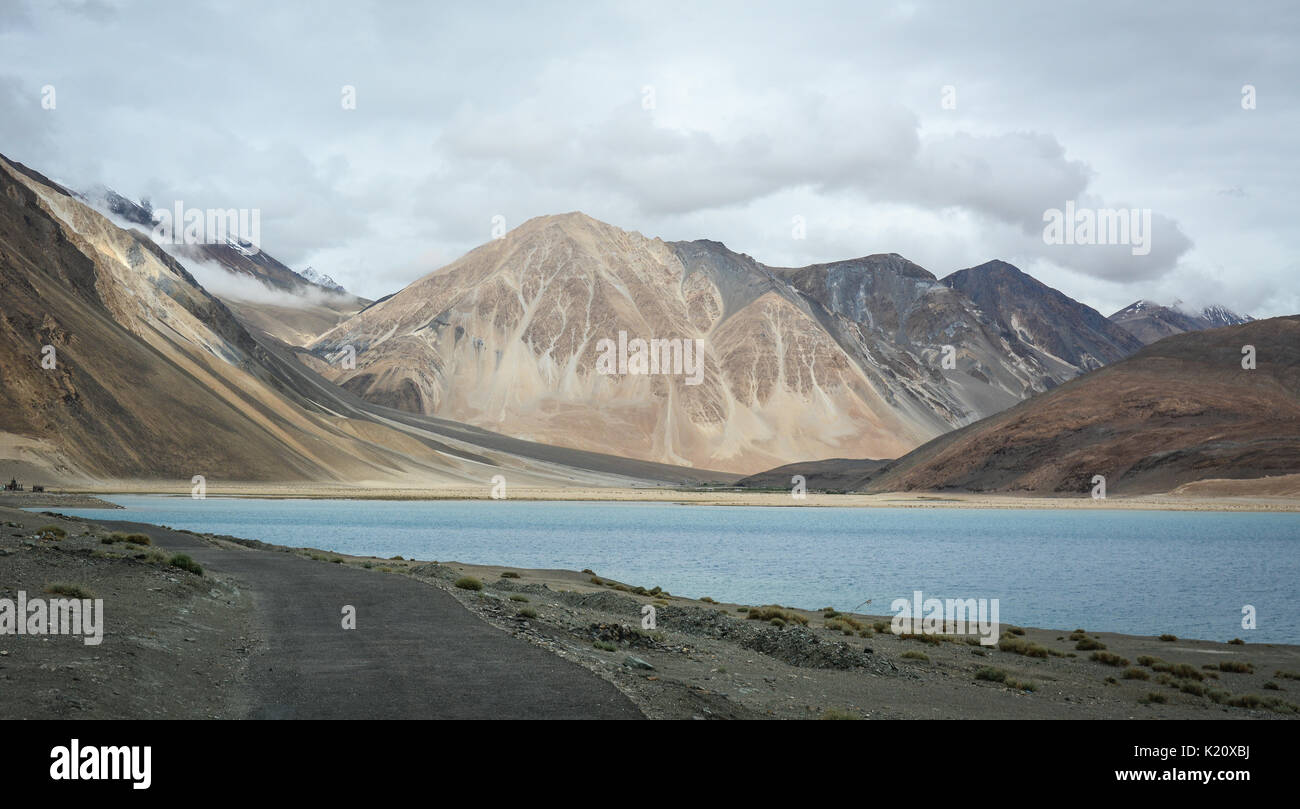View of Pangong Lake at winter in Ladakh, India. Pangong is an endorheic lake in the Himalayas situated at a height Stock Photo