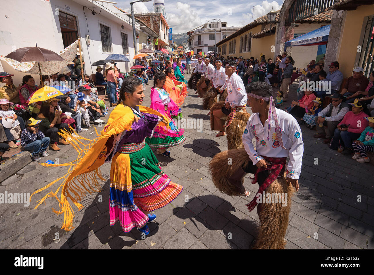 June 17, 2017 Pujili, Ecuador: being a dancer in the Corpus Christi parade is considered a honour and privilege by the indigenous population - Stock Image