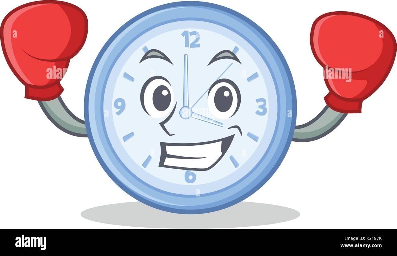 Boxing clock character cartoon style - Stock Vector