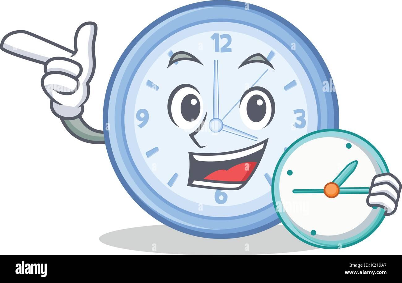 Waiting clock character cartoon style - Stock Vector