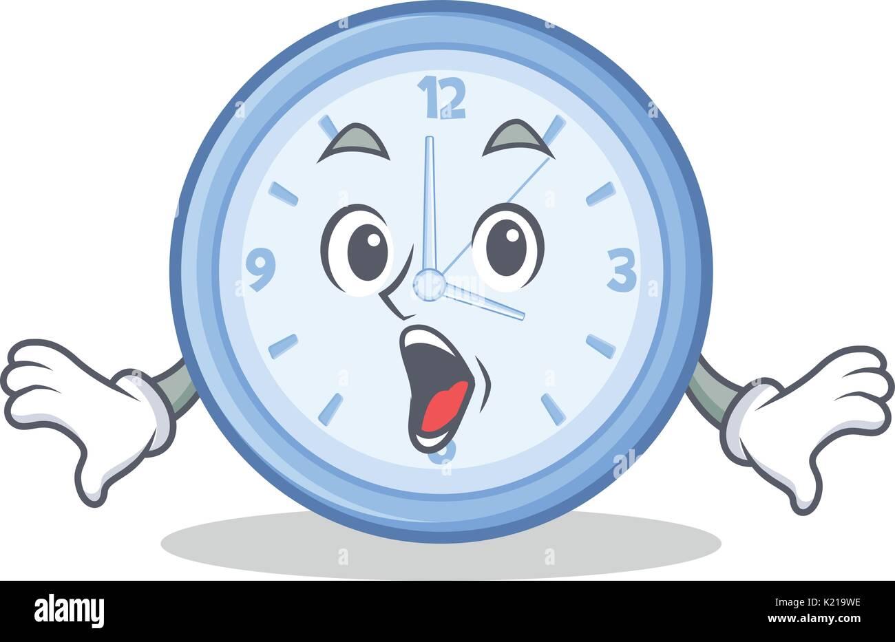 Surprised clock character cartoon style - Stock Vector
