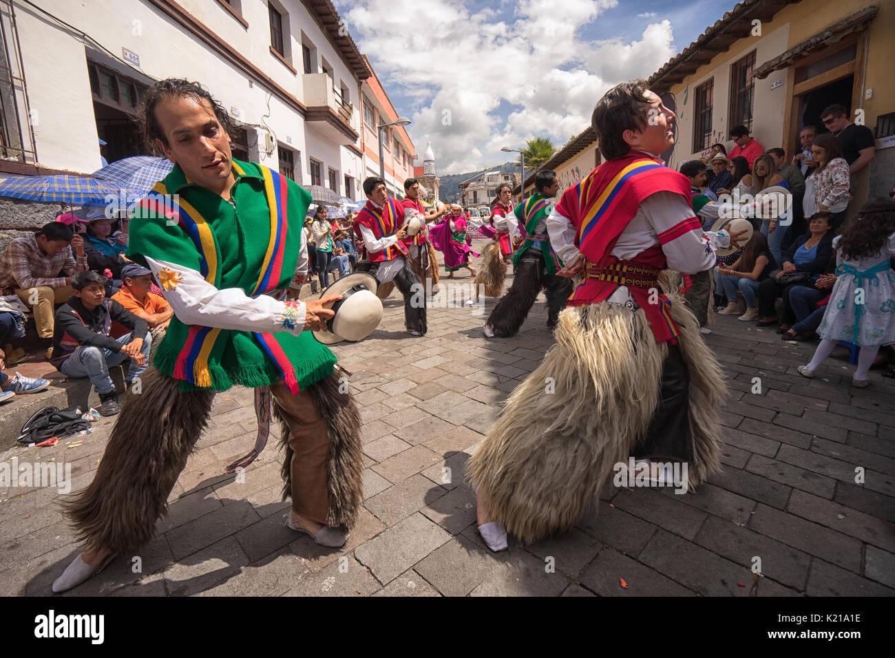 June 17, 2017 Pujili, Ecuador: dancers performing on the street during Corpus Christi parade - Stock Image