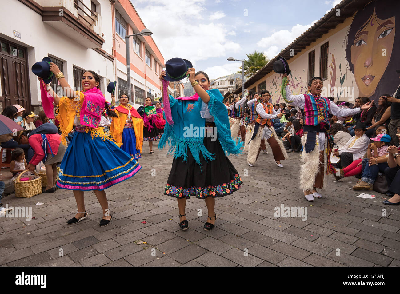 June 17, 2017 Pujili, Ecuador: dancers in brightly colored clothing performing at the Corpus Christi parade - Stock Image